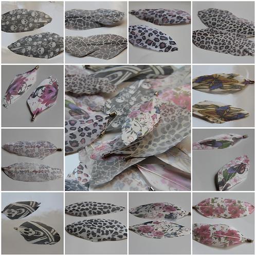 paire de plumes motifs imprimées