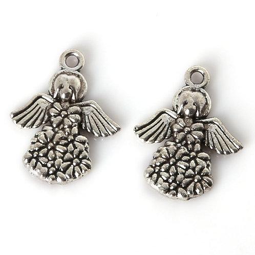 Breloque ange robe fleurie  en métal argenté