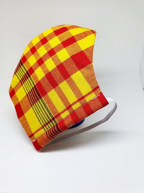 Masque alternatif FM tissu Madras jaune et orange