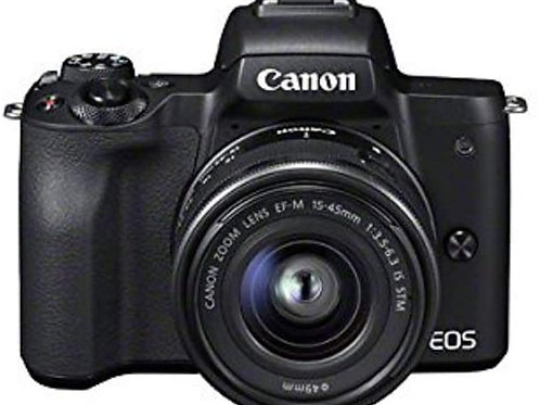 Canon EOS M50 Compact System Camera and EF-M 15-45 mm f/3.5-6.3 IS STM Lens - Bl