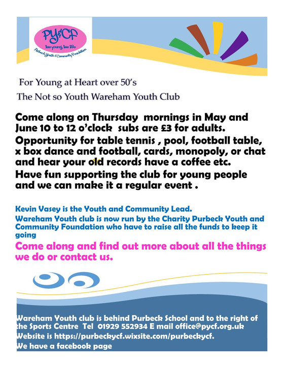 The Not So Youth Wareham Youth Club...
