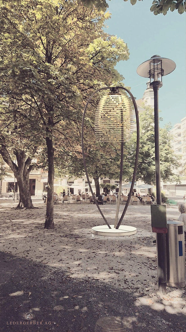 Ledergerber Lampe und Leuchte visualisiert für einen Park - gleiche Lampe wie Messing in gross