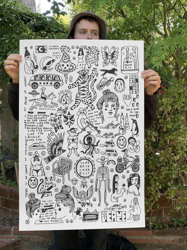 TECHNIQUE: 1 Color Screen Print SIZE: 24 x 36 inches PAPER: 100lb off-white Cougar paper  SIGNATURE: Signed and numbered OE