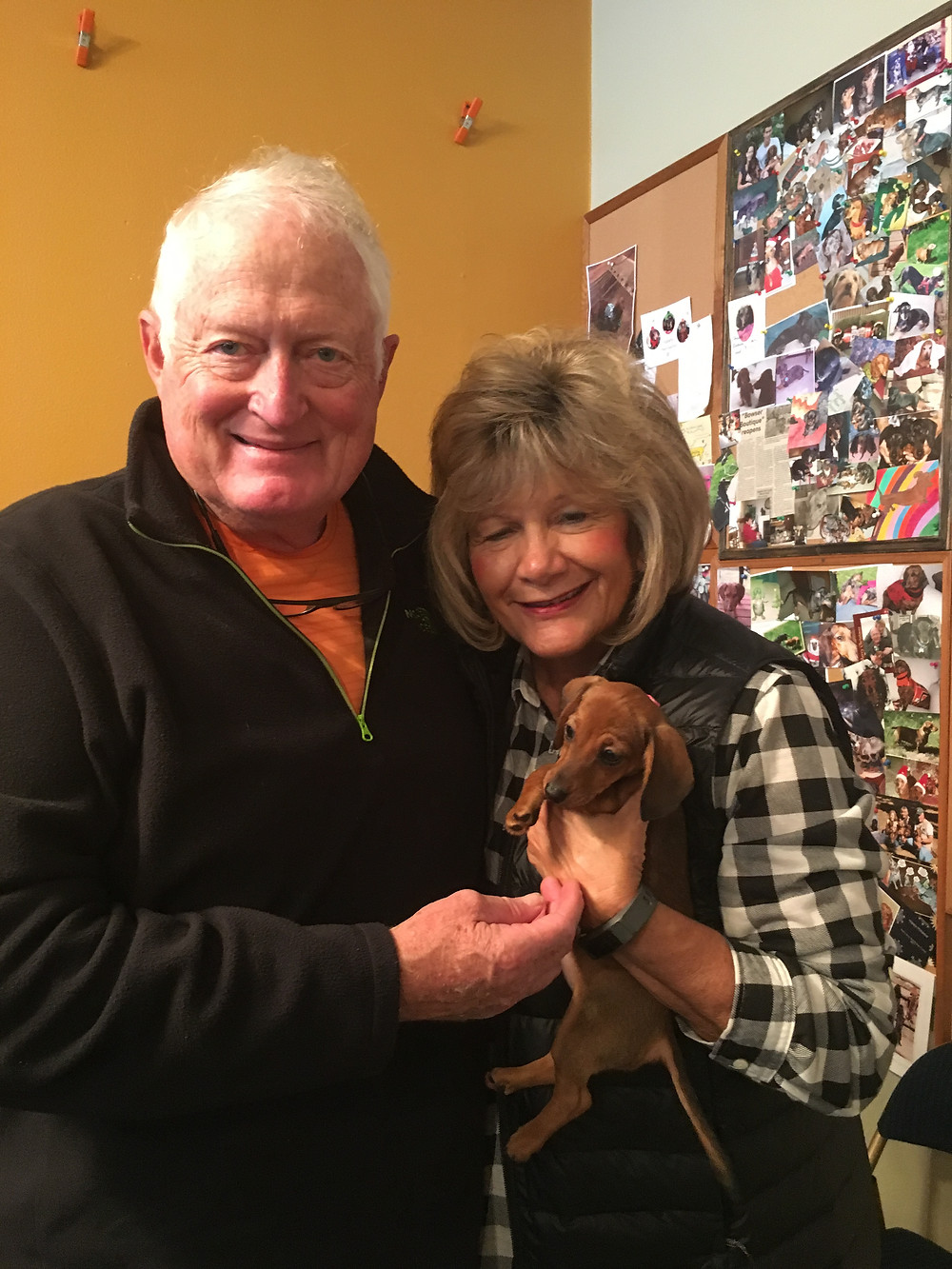 Heidi with her new parents.