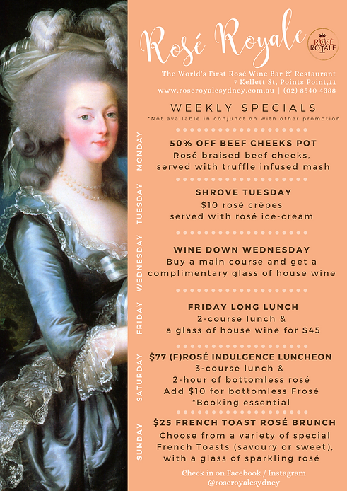 NEW Rose Royale weekly specials poster (