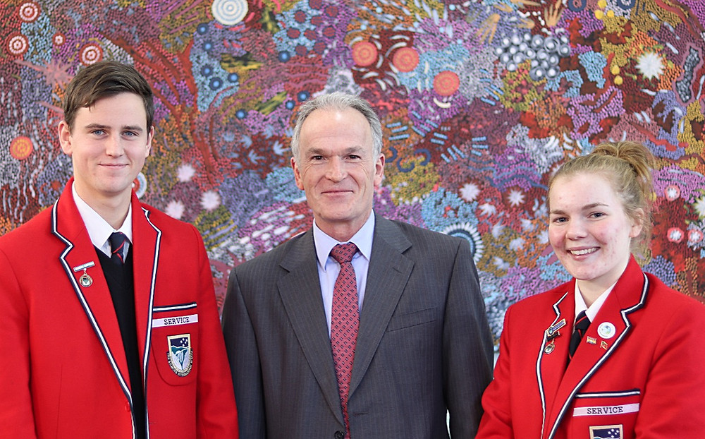Kilmore International School principal Andrew Taylor and school captains Jacob Knight and Phoebe Ned