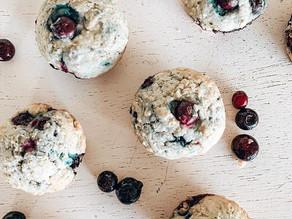 Muffin vegano de arándanos