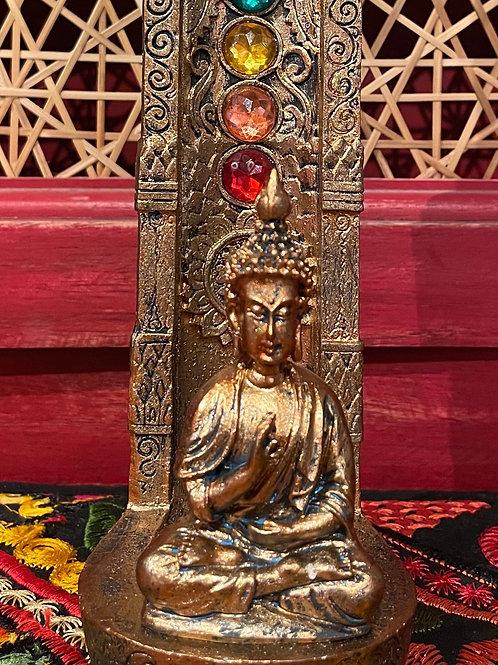 Bronze effect Buddha incense holder.