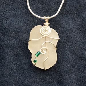 White sea glass with beads SG6