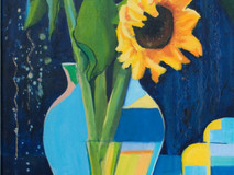 Sunflowers with Patchwork Cloth