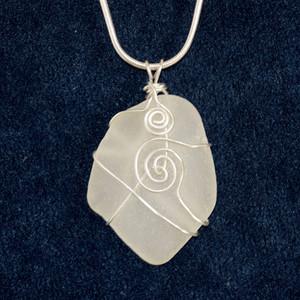 White Sea Glass Pendant SG1