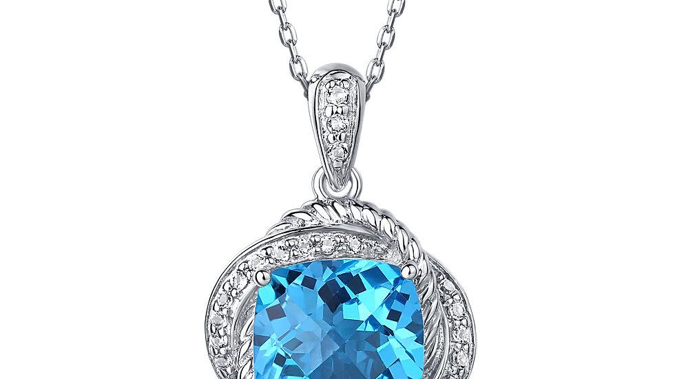 925 Silver Blue Topaz Pendant
