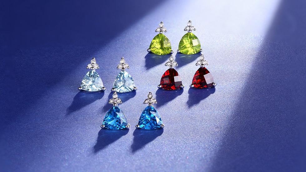 925 Silver Blue Topaz Earrings