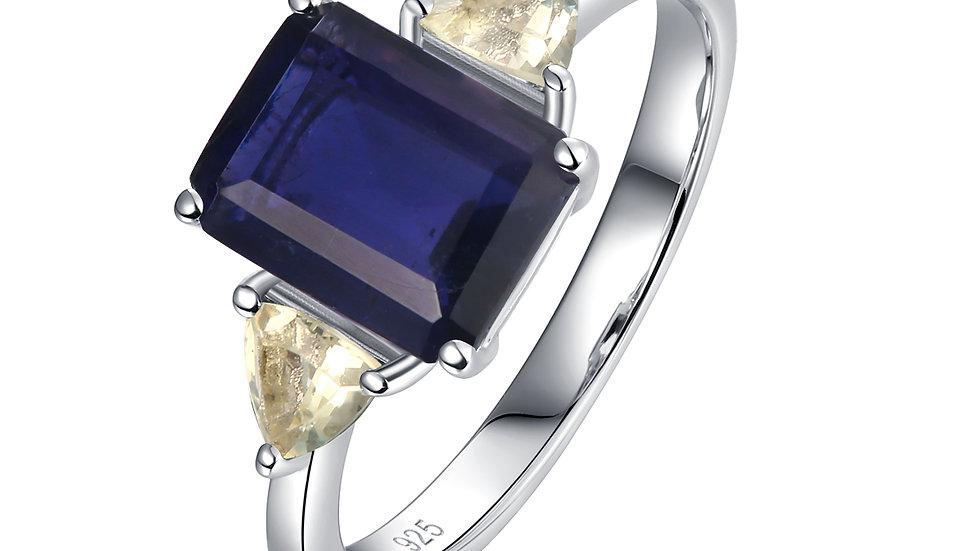 925 Silver Iolite Ring