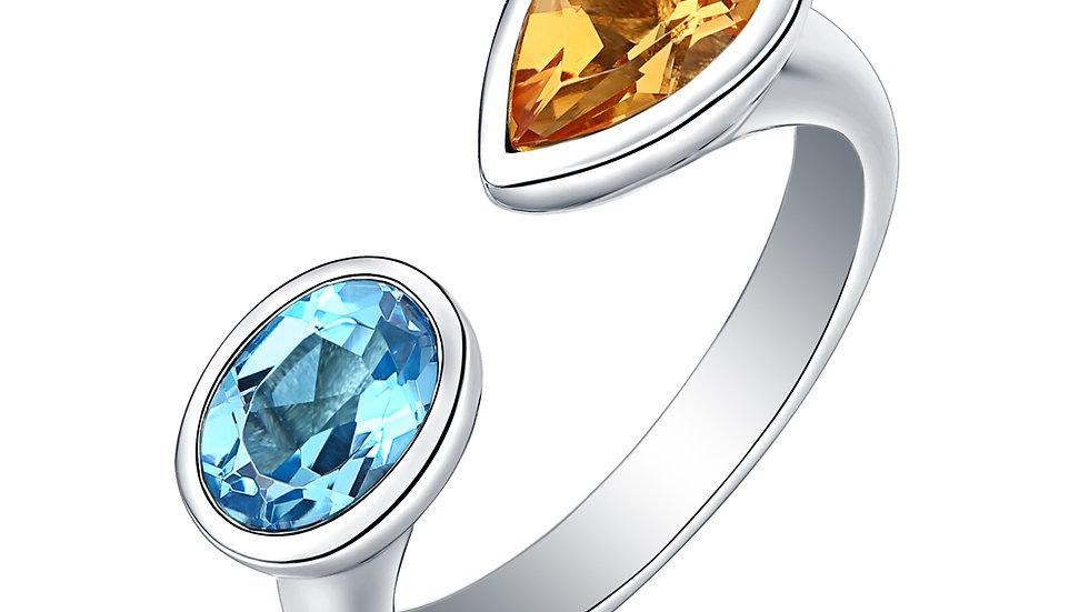 925 Silver Blue Topaz & Citrine Ring