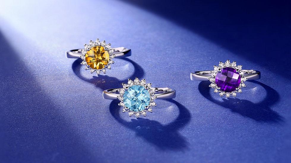 925 Silver Aquamarine Ring