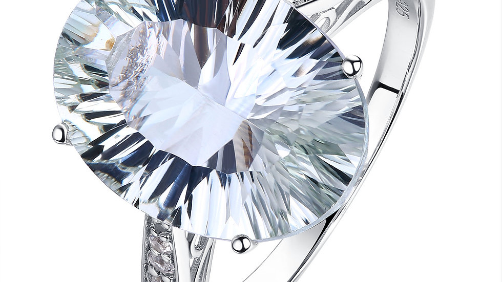 925 Silver Green Amethyst Ring