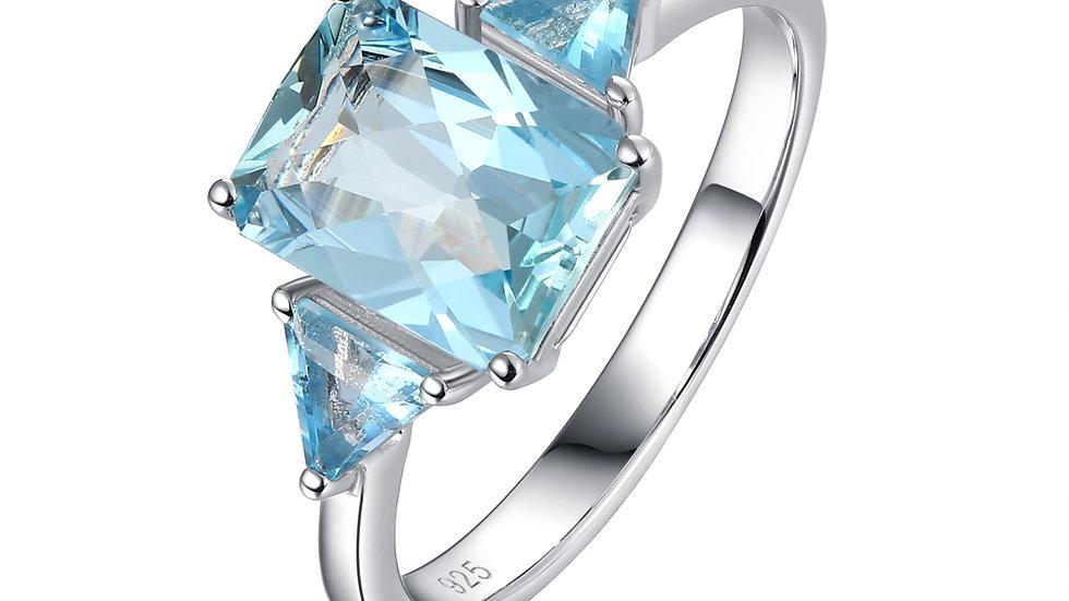 925 Silver Blue Topaz Ring