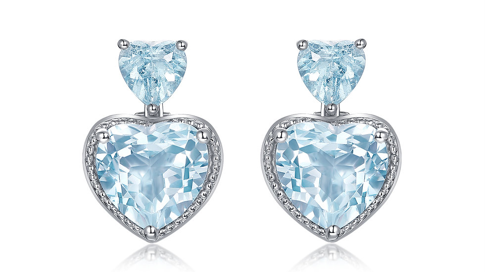 925 Silver Aquamarine Earrings