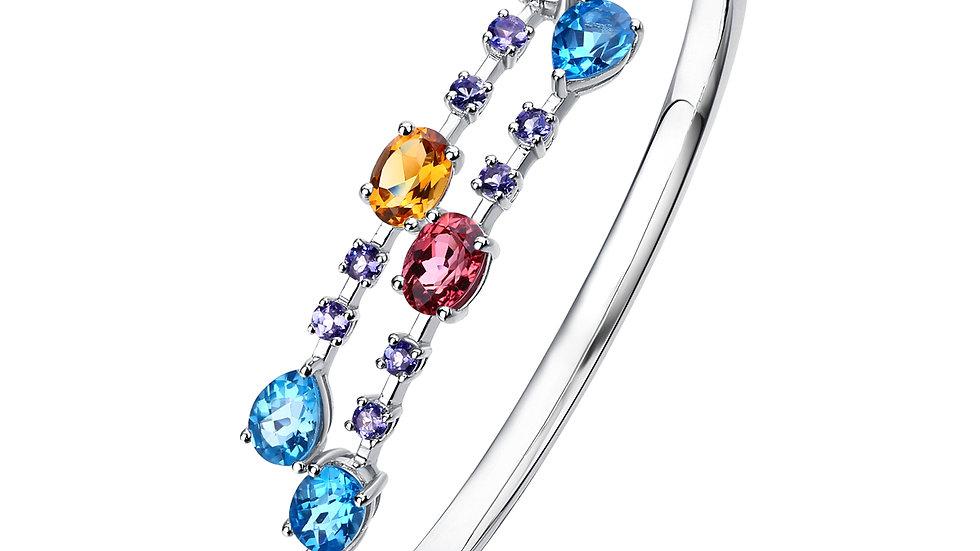 925 Silver Multi Color Gemstone Bangle