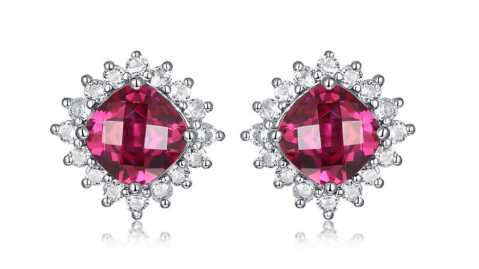 925 Silver Pink Tourmaline Earrings