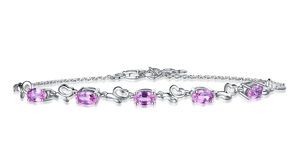 925 Silver Pink Sapphire Bracelet