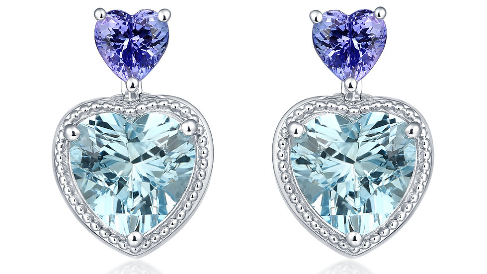 925 Silver Sky Blue Topaz & Tanzanite Earrings