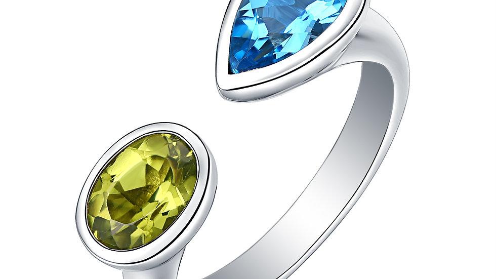 925 Silver Blue Topaz & Peridot Ring