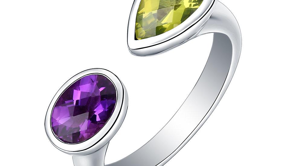 925 Silver Amethyst & Peridot Ring