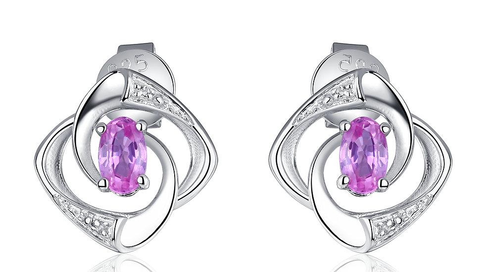 925 Silver Pink Sapphire Earrings