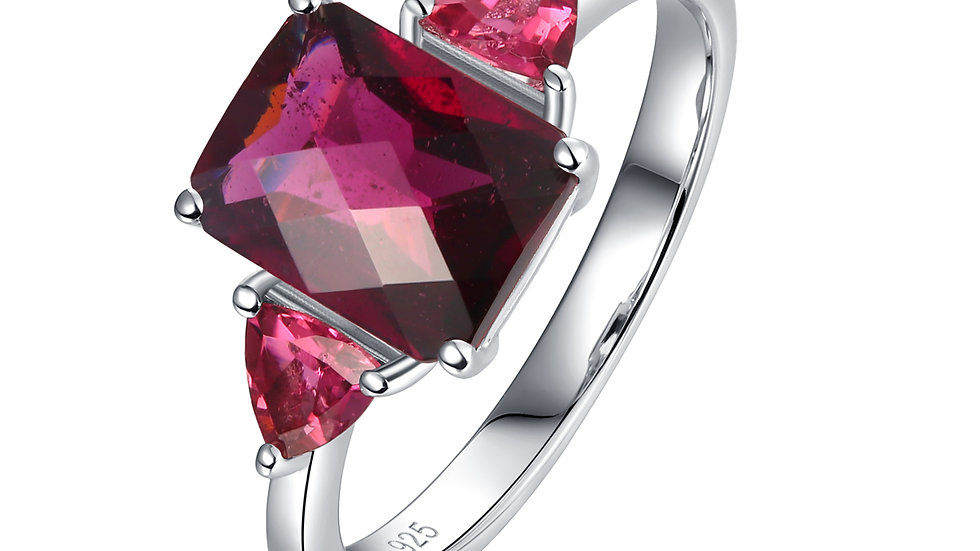 925 Silver Rhodolite Garnet Ring