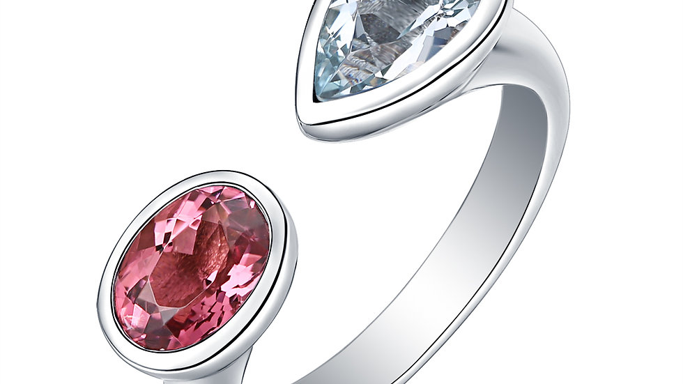 925 Silver Pink Tourmaline & Aquamarine Ring