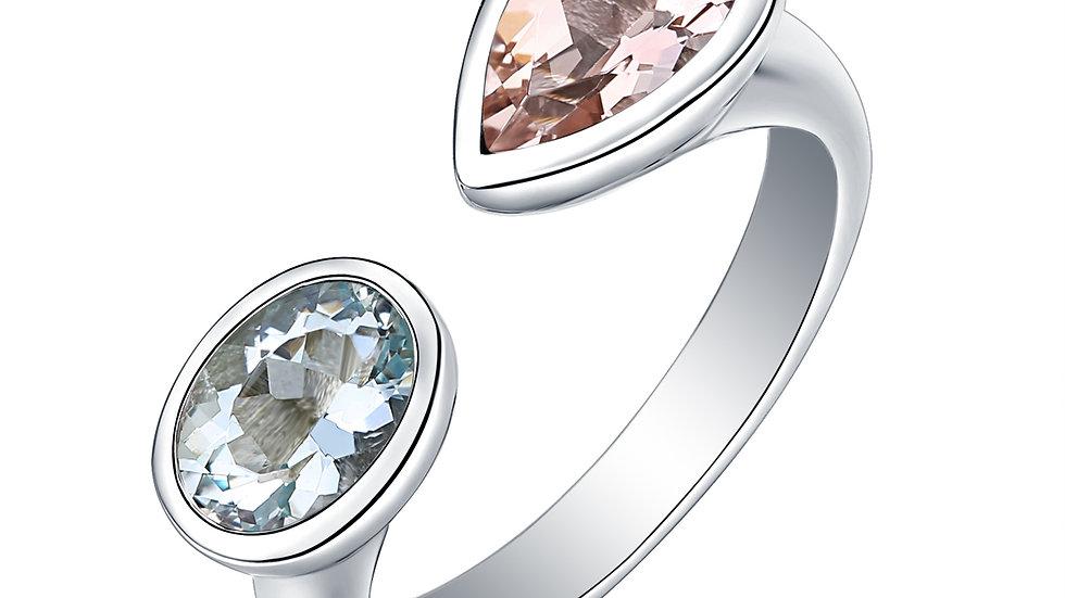 925 Silver Aquamarine & Morganite Ring
