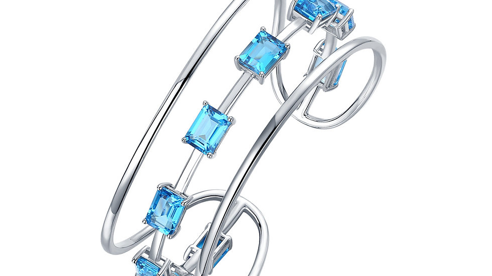 925 Silver Blue Topaz Bangle
