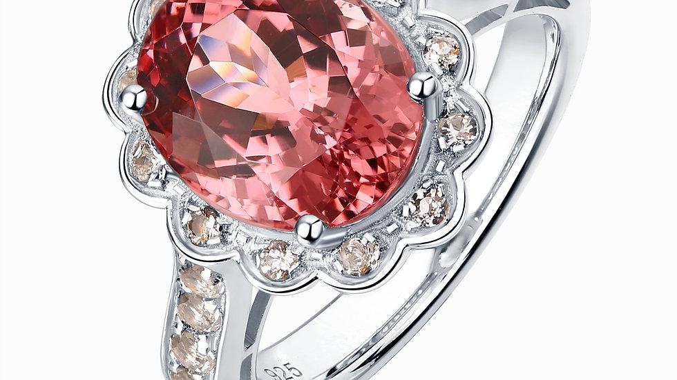 925 Silver Pink Tourmaline Ring