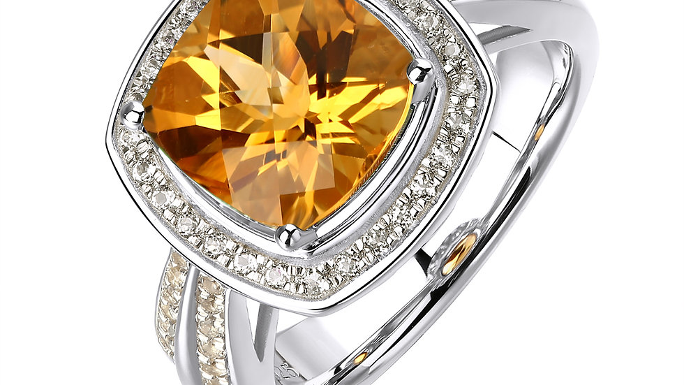 925 Silver Citrine Ring