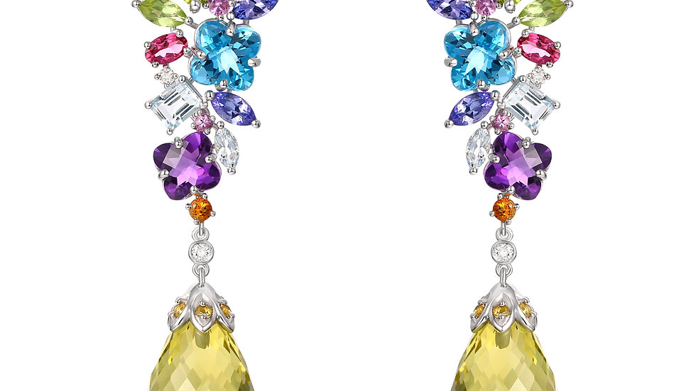 925 Silver Multi Color Gemstone Earrings