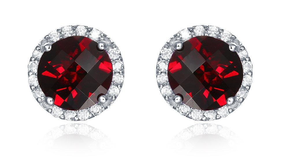 925 Silver Garnet Earrings