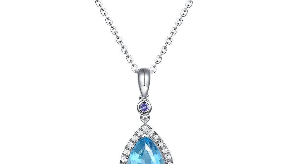 925 Silver Blue Topaz Aquamarine Pendant