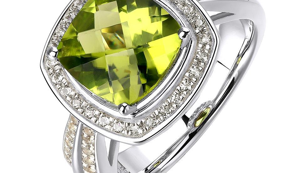 925 Silver Peridot Ring