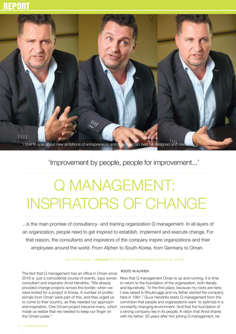 Into Business magazine:  Interview with Arvid Hendriks on Q management and Inspirators of Change