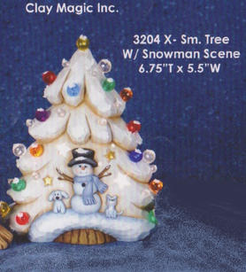 EXTRA SMALL TREE WITH SNOWMAN SCENE