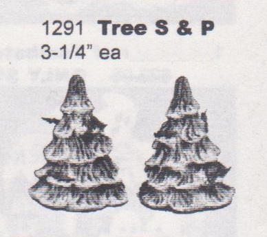 TREE SALT & PEPPER SHAKERS 3.75''H