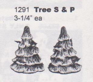 TREE SALT & PEPPER SHAKERS 3.75''H
