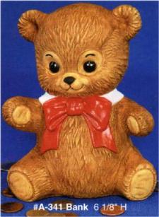 TEDDY BEAR BANK 6.25''H x 5.25''W