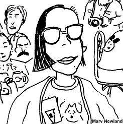 Drawing of indie filmmaker Joanna Priestley by Marv Newland