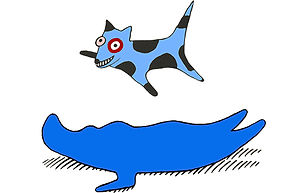 Flying pup links to Joanna Priestly contact page.