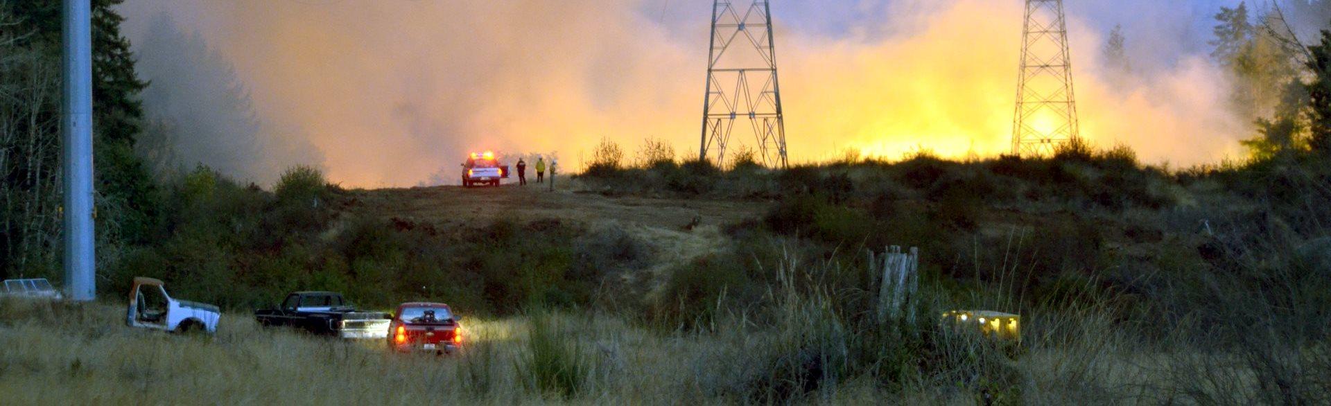 Util fire behind towers