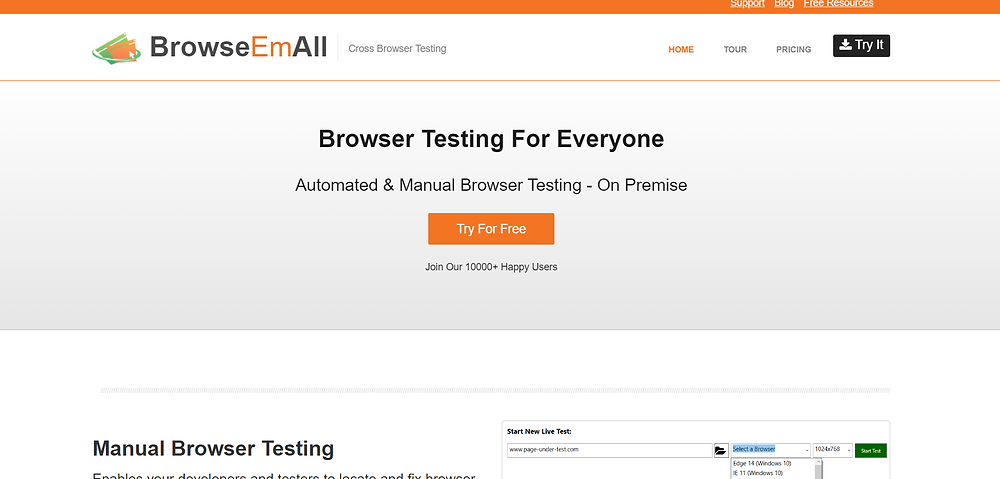 Cross-browser testing tools By BrowseEmAll