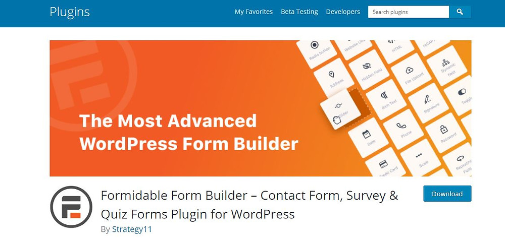Formidable Forms wordpress plugin